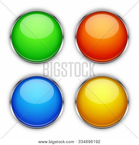 Set Of Vector Glossy Buttons. Glass Buttons Isolated. Colored Bright Buttons