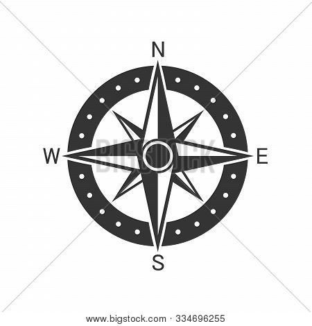 Vector Compass Icon. Compass Navigation Icon. Black Compass Icon In Flat Style. Compass Rose, Wind R