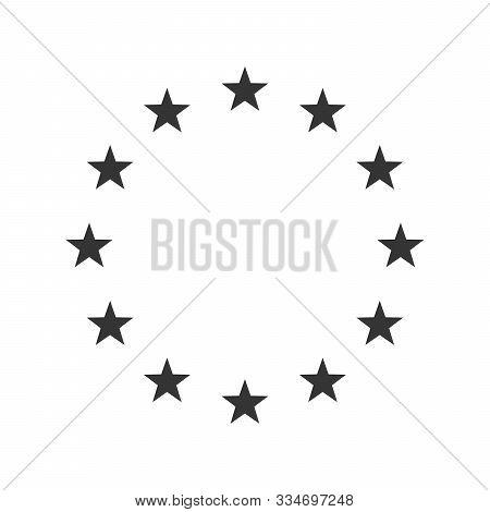 Vector Illustration Of The Eu Flag Stars. European Union Icon Isolated. The Wreath Of Stars Of Eu.