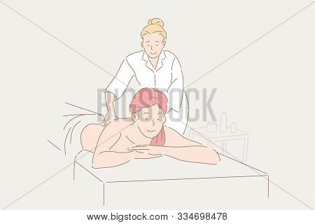 Massage, Rehabilitation, Health, Spa Concept. Young Woman At Treception Of Professional Masseuse, Kn
