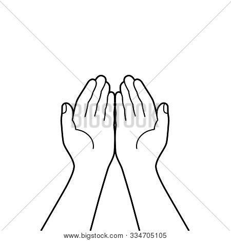 Gesture Of The Hands Folded In Prayer. Hands Cupped Together Isolated Symbol On White Background. Gr