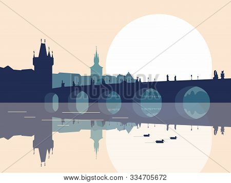 Panorama Of Charles Bridge In Prague. Blue Monochromatic Silhouette. Vector Illustration.