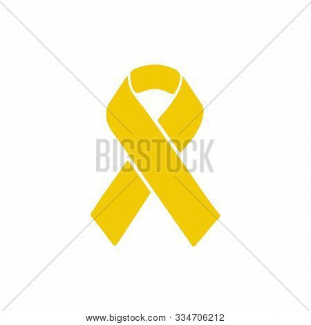 Yellow Awareness Ribbon On White Background. Bone Cancer And Troops Support Symbol.