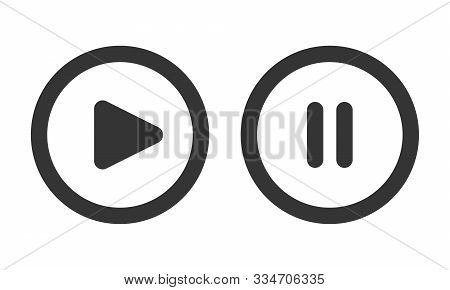 Play And Pause Buttons Isolated. Black Vector Buttons. Round Buttons In Flat Style.