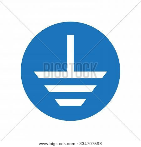 Electrical Grounding Symbol - Vector. Grounding Icon Isolated. Vector Blue Icon. Protective Earth Gr