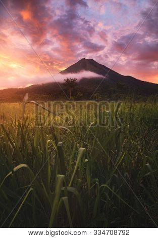 Arenal Volcano, Volcán Arenal Is An Active Andesitic Stratovolcano In North-western Costa Rica Aroun
