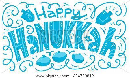 Hanukkah Background. Holiday Symbols: Donuts And Dreidels. Greeting Card Template Design. Happy Hanu