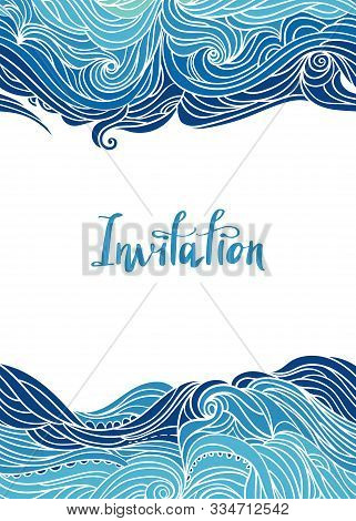 Elegant Vertical Seamless Wave Border. Wavy Striped Pattern. Hand-drwn Frame In Doodle Style. Templa