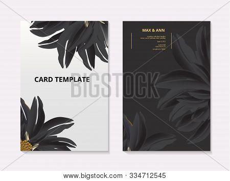 Sunflower Contrast Card Template. Summer 3d Realistic Floral Botanical Wedding Card, Flora Macro Vec