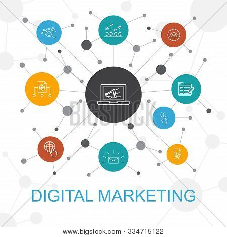 Digital Marketing Trendy Web Concept With Icons. Contains Such Icons As Internet, Marketing Research