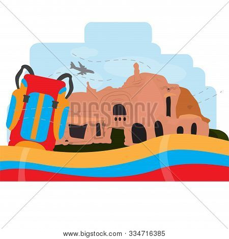 Travel To Colombia. Colony Ruins Landscape - Vector Illustration