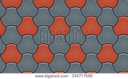 Seamless Pattern Of Tiled Cobblestone Pavers. Geometric Mosaic Street Tiles. Red And Gray Color. Mil