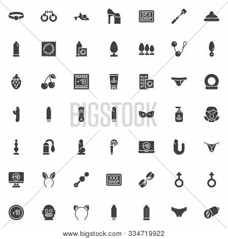 Sex Shop Vector Icons Set, Modern Solid Symbol Collection Filled Style Pictogram Pack. Signs, Logo I