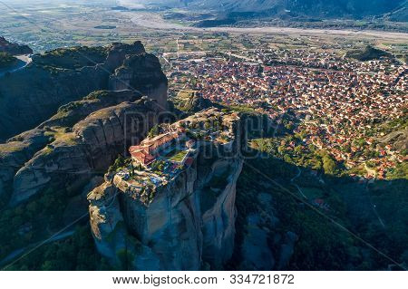 Aerial View From The Monastery Of The Holy Trinity In Meteora, Greece
