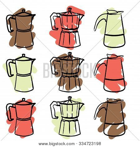 A Set Of Nine Colorful Geyser Italian Coffee Makers In A Doodle Style. Vector Hand Drawn Illustratio