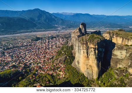 Aerial View Of The City Of Kalampaka Where The Main Attraction Of The North Of Greece Is Located - T