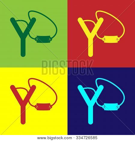 Color Slingshot Icon Isolated On Color Background. Vector Illustration