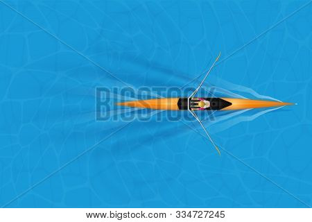 Single Racing Shell With Paddler For Rowing Sport On Water Surface. One Oarsman Woman Inside Boat In