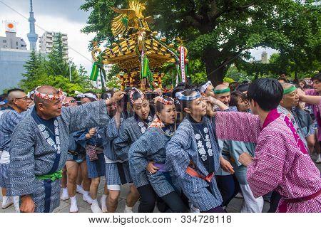 Tokyo - May 19 : Participants In The Kanda Matsuri In Tokyo, Japan On May 19 2018. Kanda Matsuri Is