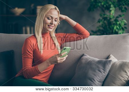 Photo Of Pretty Blonde Lady Homey Domestic Mood Texting Telephone Friends Reading Watching Instagram