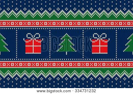 Winter Holiday Seamless Knitted Pattern With A Christmas Symbols. Christmas Trees And Present Box Or