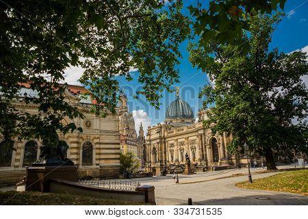 Dresden, Germany: View From Frauenkirche Towards An Der Frauenkirche Street With Academy Of Fine Art