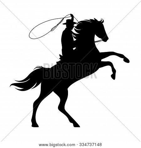 Cowboy Riding Rearing Up Horse And Throwing Lasso - Wild West Ranger Black And White Vector Silhouet