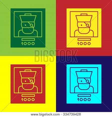 Color Wanted Poster Pirate Icon Isolated On Color Background. Reward Money. Dead Or Alive Crime Outl