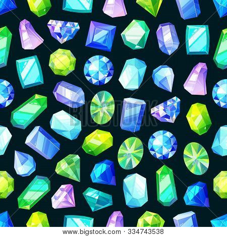 Gemstones, Gem Jewels, Diamonds And Jewelry Precious Stones Seamless Pattern. Vector Background Of R