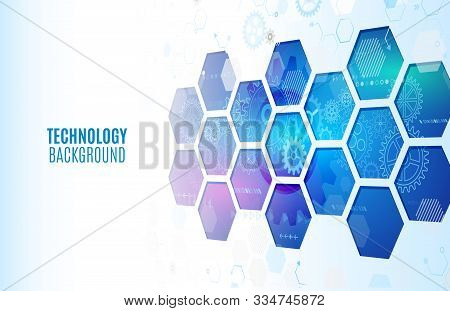 Abstrac Hexagons Science Background. Hi-tech Digital Technology And Engineering Concept