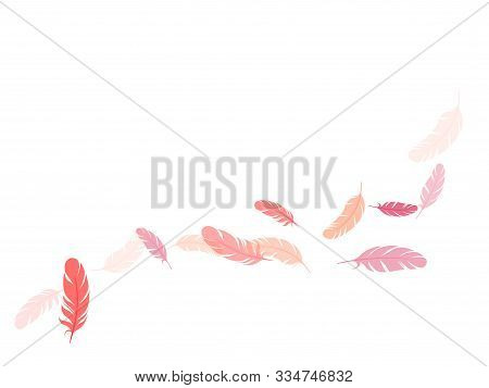 Tender Pink Flamingo Feathers Vector Background. Smooth Plumelet Tribal Ornate Graphics. Fluffy Twir