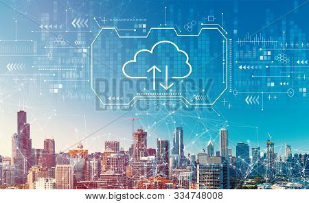 Cloud Computing With Downtown Chicago Cityscape Skyscrapers