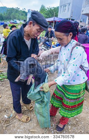 Dong Van , Vietnam - Sep 16 : The Weekend Market In Dong Van Vietnam On September 16 2018. The Marke