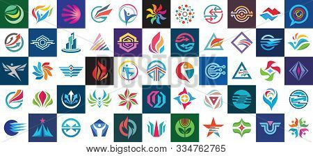 Logo Set Design. Abstract Business Modern Icons Collection. Concept Sign Big Bundle. Graphic Design