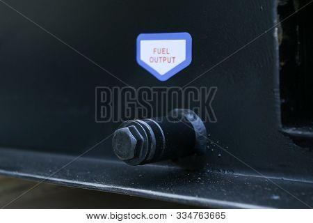 Generator set or genset fuel output system close up details poster