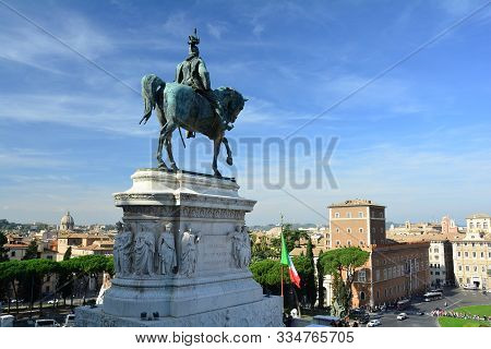 Rome Italy October 28th 2019.the Statue Of Vittorio Emanuele Sitting On A Horse On The Vittorio Eman