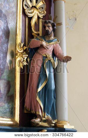 IVANIC GRAD, CROATIA - SEPTEMBER 25, 2011: Saint Philip statue on the main altar in the chapel of St. James in Ivanic Grad, Croatia