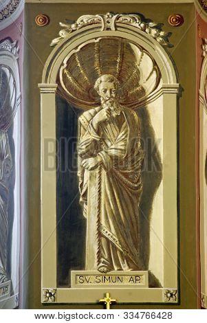 IVANIC GRAD, CROATIA - SEPTEMBER 25, 2011: Saint Simon the Apostle, fresco in the church of the Saint Peter in Ivanic Grad, Croatia