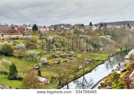 Landscape With Armancon River In Semur-en-auxois, France