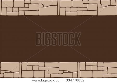 Seamless Stones Border, Stone Wall Texture, Isolated On Brown Background. Brick Texture Backgrounds,