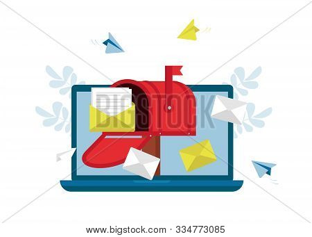 Mail Service, Message, Notification Sending. Social Network, Spam, Chat, Sms. Flat Vector Illustrati