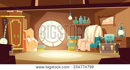 House Attic With Old Furniture, Cartoon Vector Background. Attic Interior In Wooden House With Round