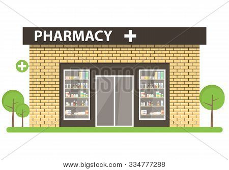 Pharmacy Building In A Flat Design. Interior And Pharmacy Building. Pharmacy Room With A Pharmacist.