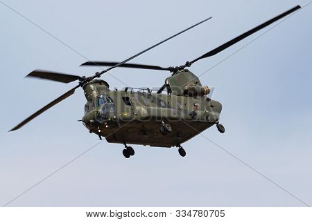 Fairford / United Kingdom - July 13, 2018: Royal Air Force Ch-47 Chinook Hc6 Zh891 Transport Helicop