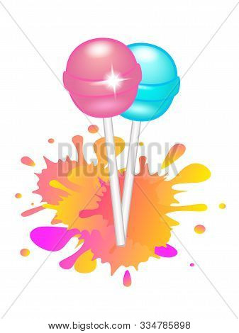 Lollipops. Two Bright Shiny Lollipops On Sticks - Turquoise And Pink On A Background Of Bright Orang