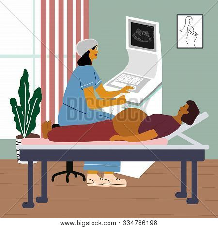 Pregnancy Ultrasound Examination Concept. Doctor Or Gynecologist Monitoring A Pregnant Woman At Ultr