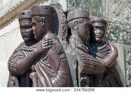 Venice, Italy: The Four Tetrarchs Statue At The Entrance Of The Doge's Palace