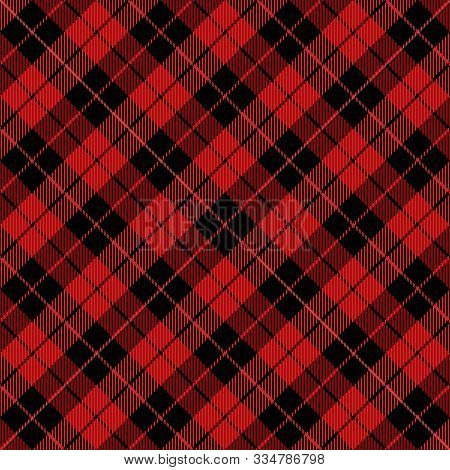 Christmas And New Year Tartan Plaid. Scottish Diagonal Pattern In Black And Red Cage. Scottish Cage.