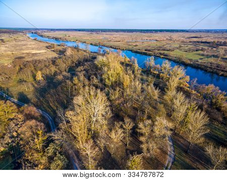 Aerial View To Autumn Forest And River Bank Of Seversky Donets, Kharkiv Region, Ukraine