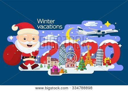 Santa Claus With A Suitcase And Tickets In Hands. Happy New Year 2020. Merry Christmas Banner In Fla